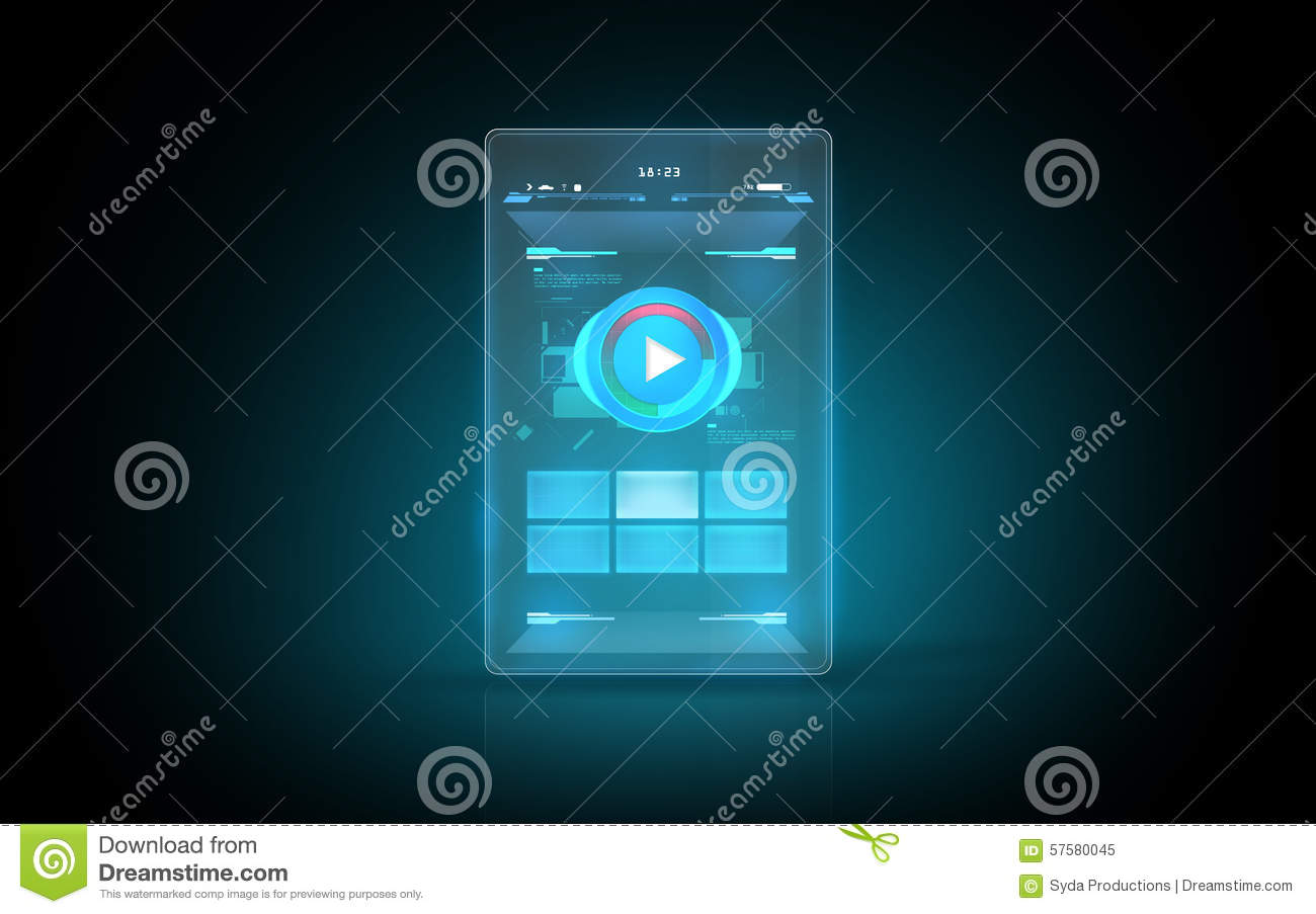 Glowing Virtual Tablet With Buttons On Screen Stock
