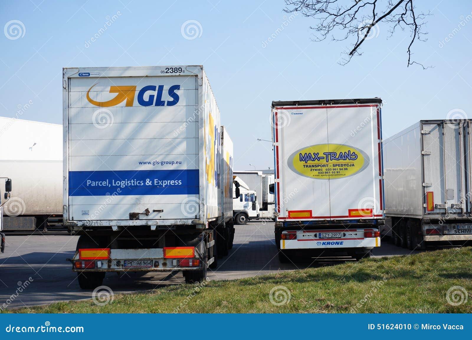 gls and max trans trucks editorial image image 51624010. Black Bedroom Furniture Sets. Home Design Ideas