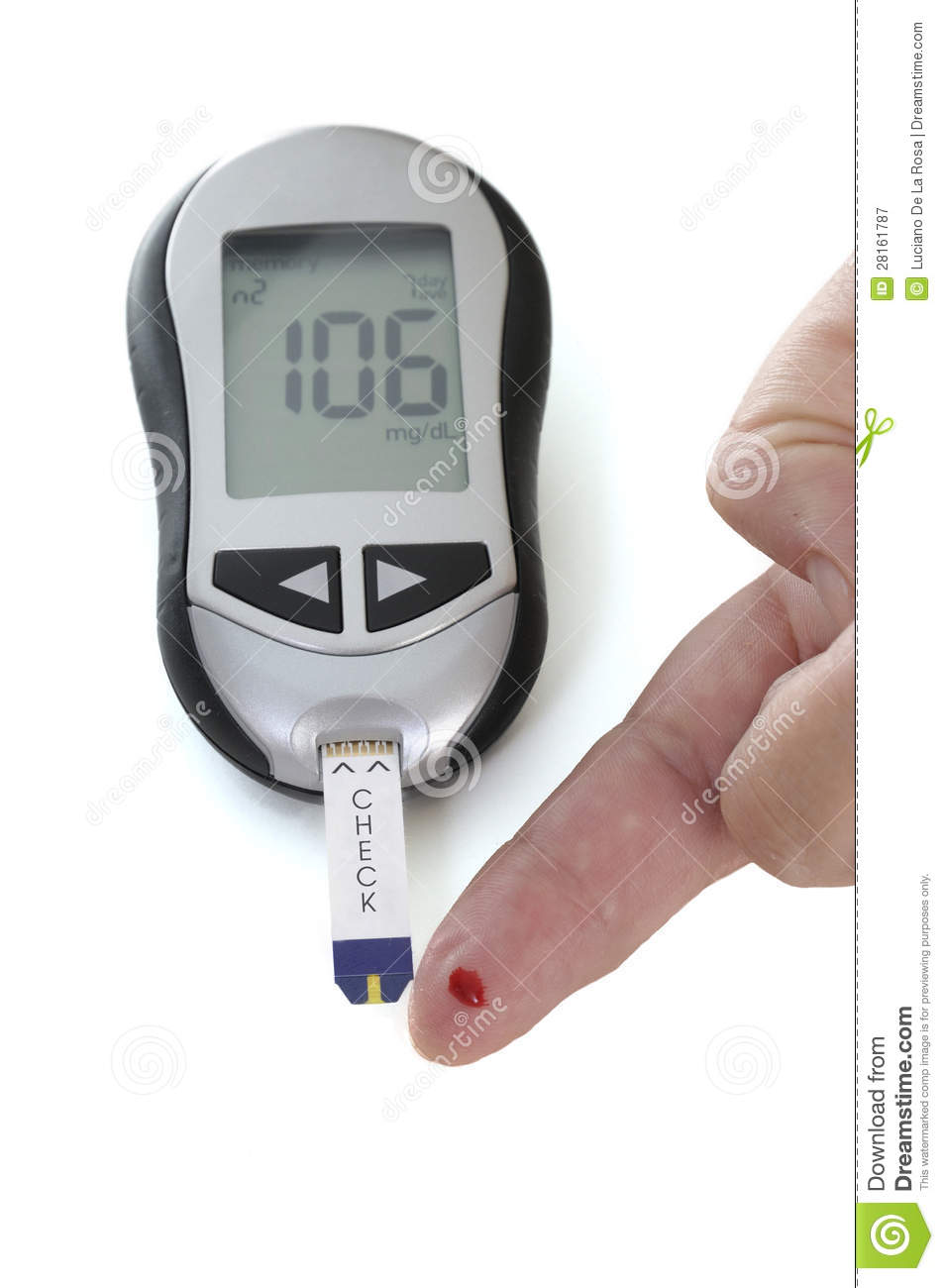 Meter Reading Practice Test : Glucometer with a reading displayed royalty free