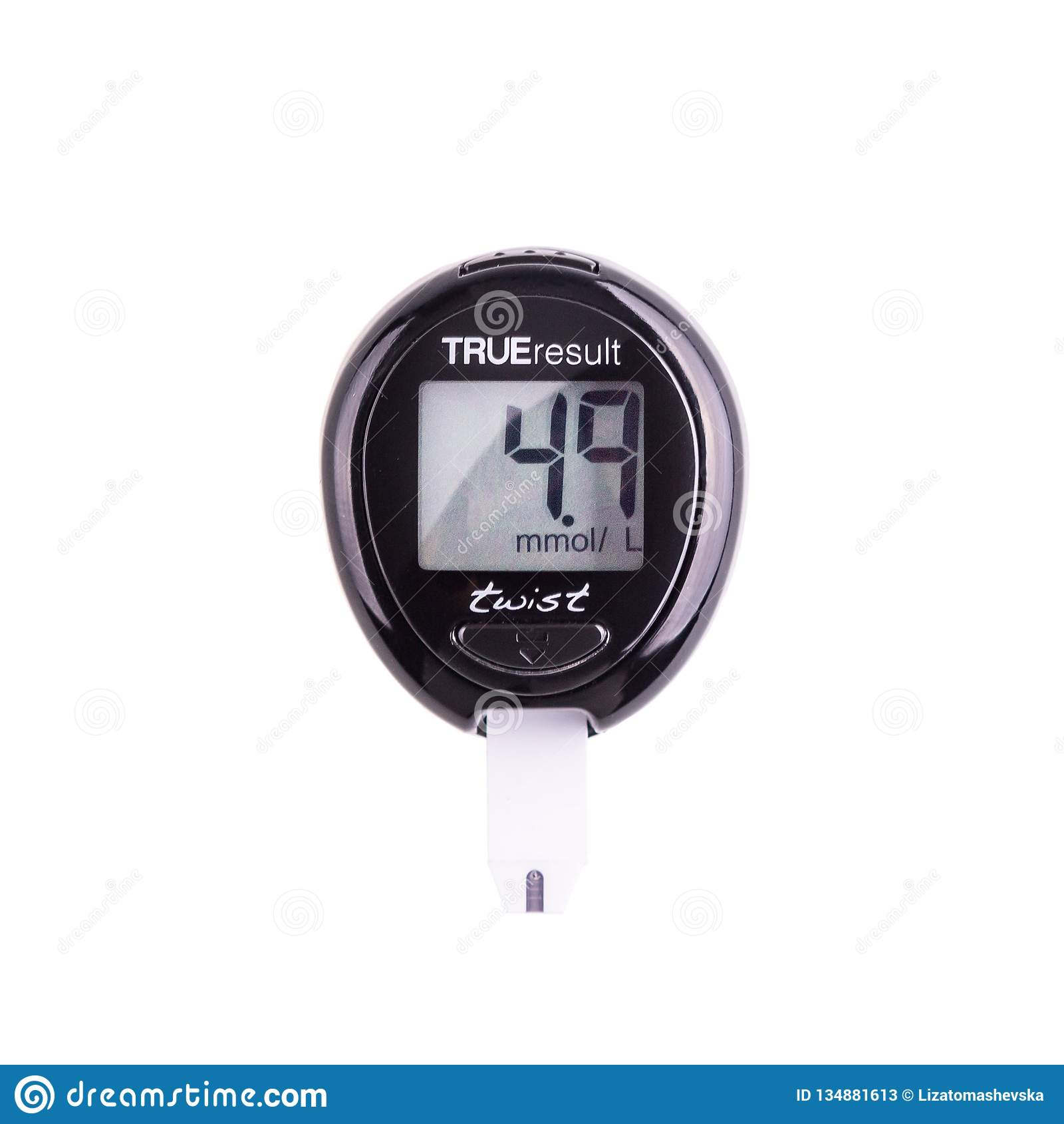 Glucometer for checking blood sugar levels on a white background