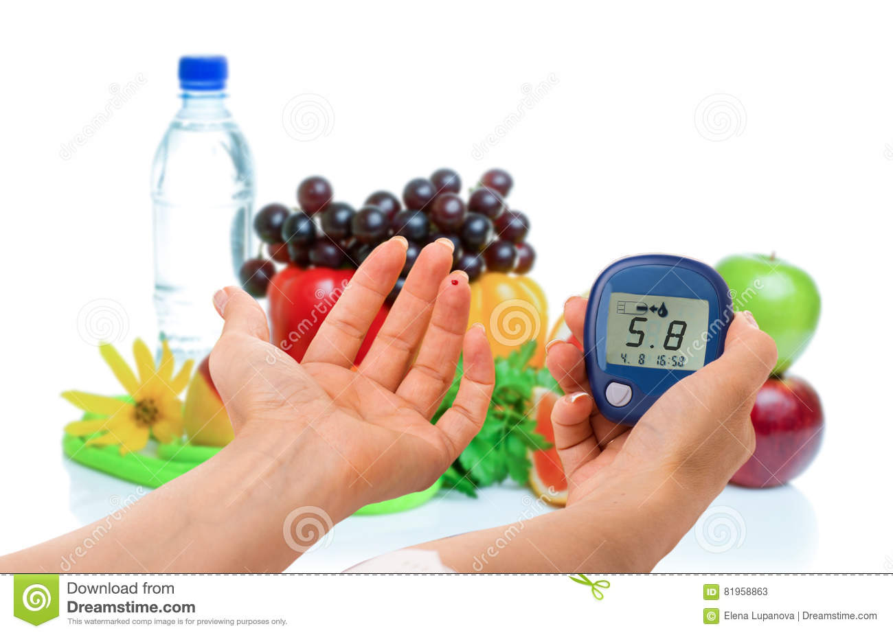 glucometer for glucose level and healthy organic food on a white background diabetes concept