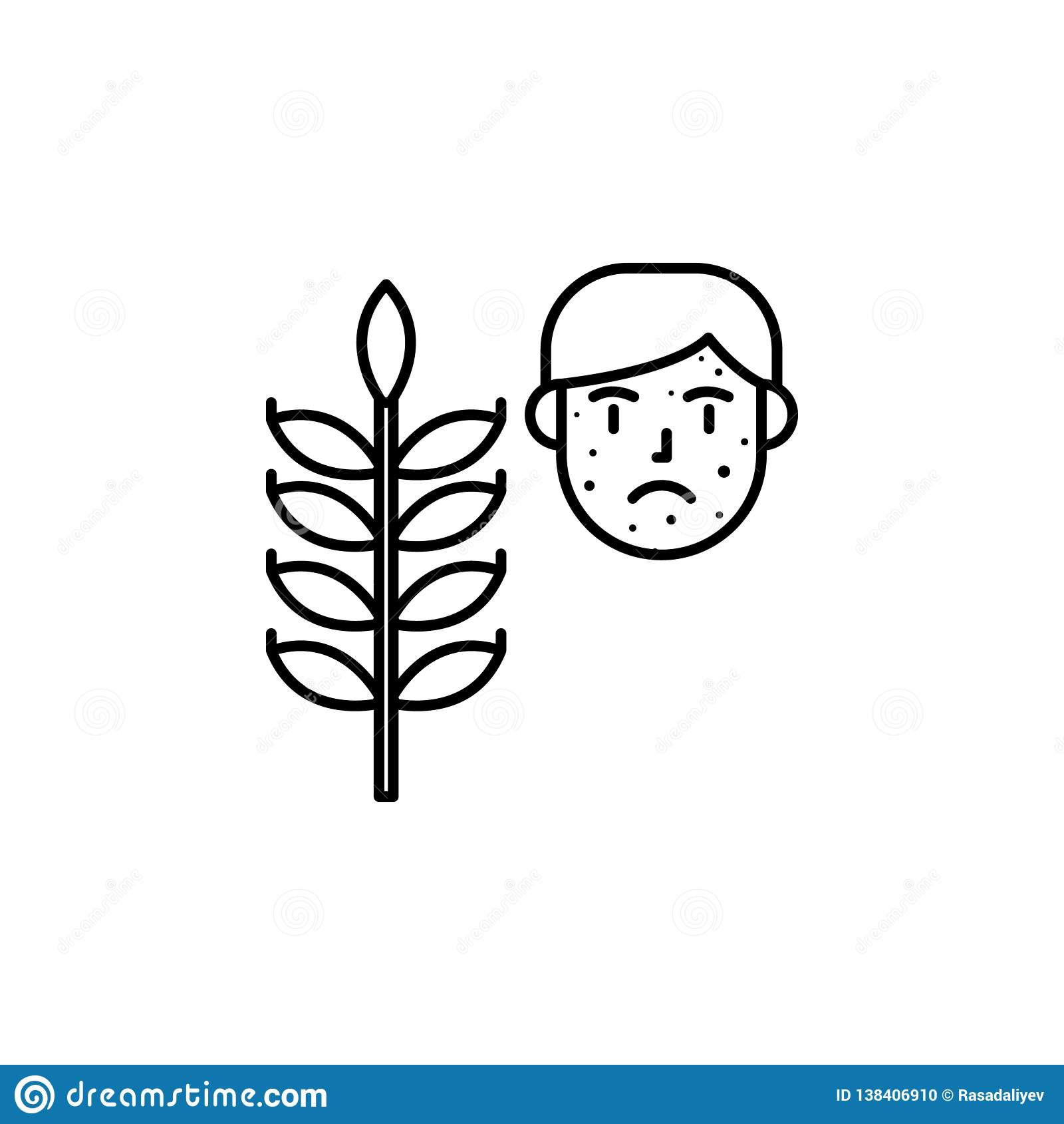 Gluten, Allergic Face Icon  Element Of Problems With Allergies Icon