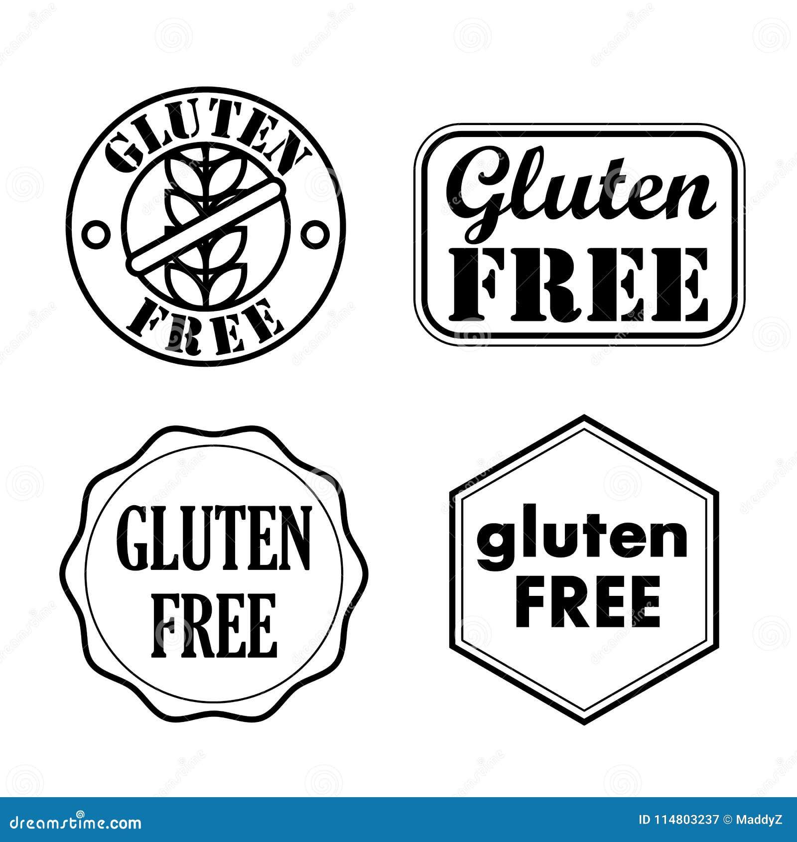 Gluten Bezpłatne foki, odznaki, ikony również zwrócić corel ilustracji wektora
