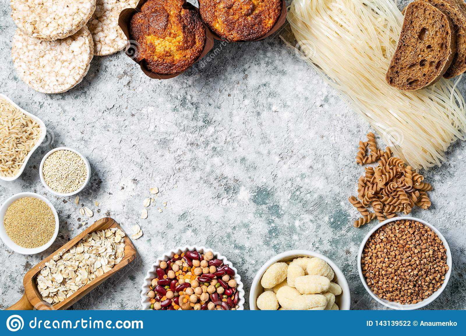 Gluten Free Diet Concept - Selection Of Grains And
