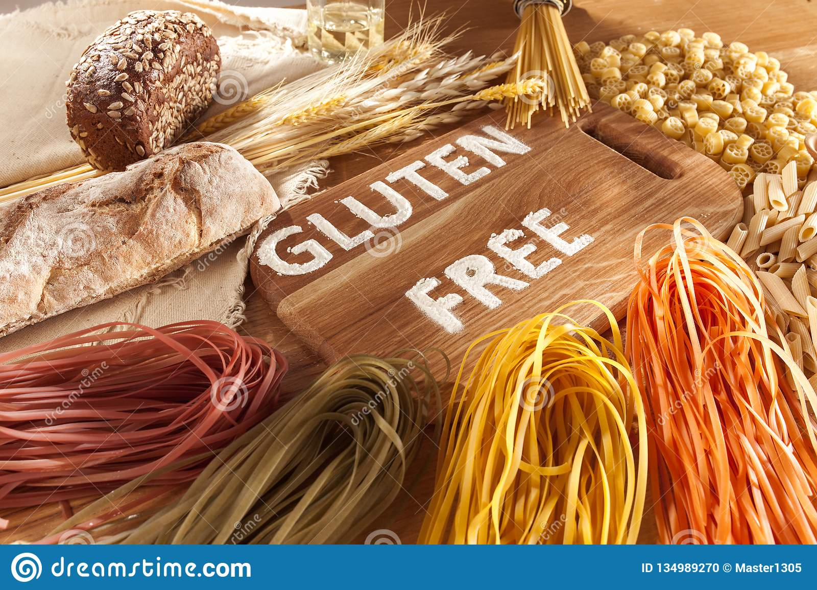 Gluten Free Food  Various Pasta, Bread And Snacks On Wooden