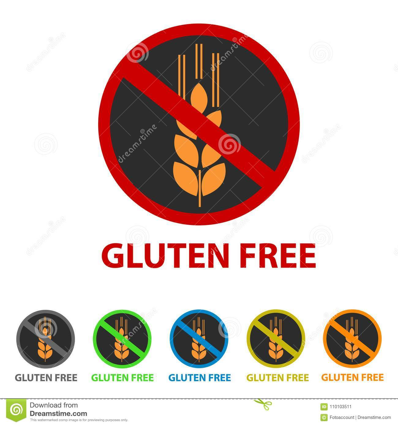Gluten Free Icon - Different Colors Stock Vector