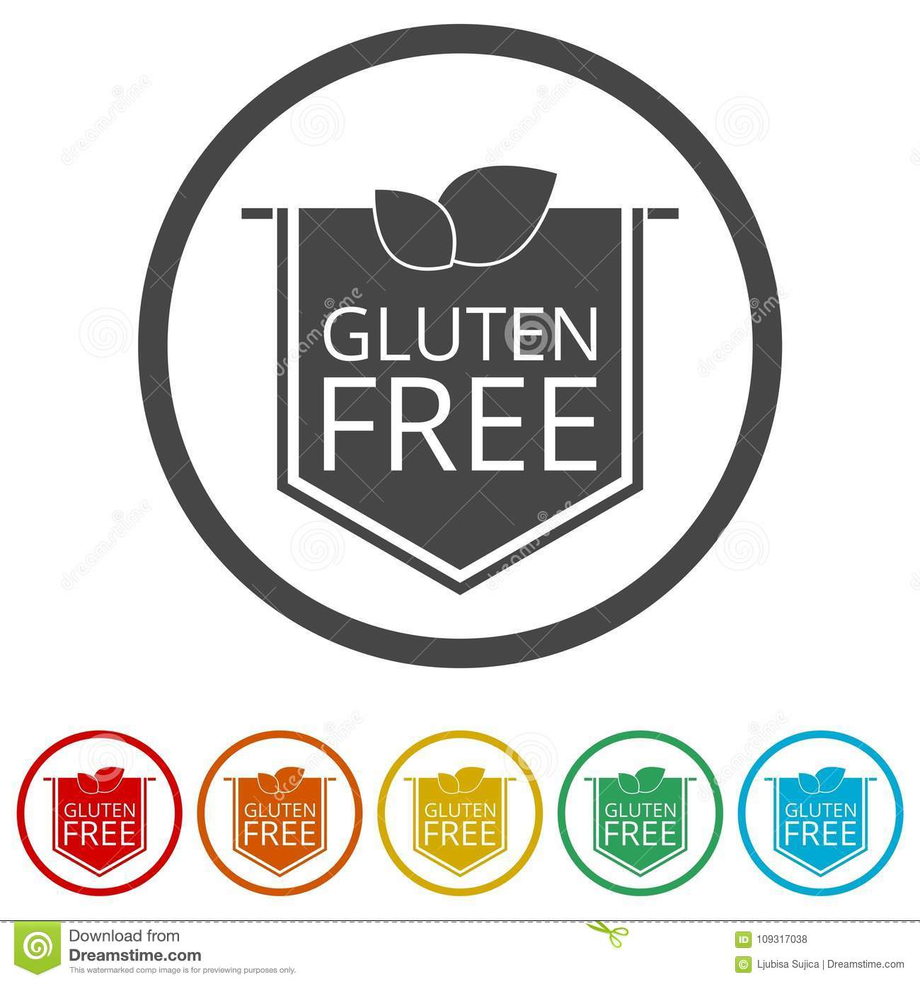 Gluten Free Icon, No Gluten / Gluten Free Food Label, 6 Colors
