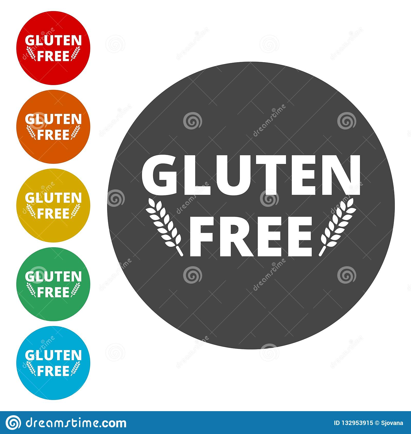 Gluten free icons set stock vector  Illustration of health - 132953915
