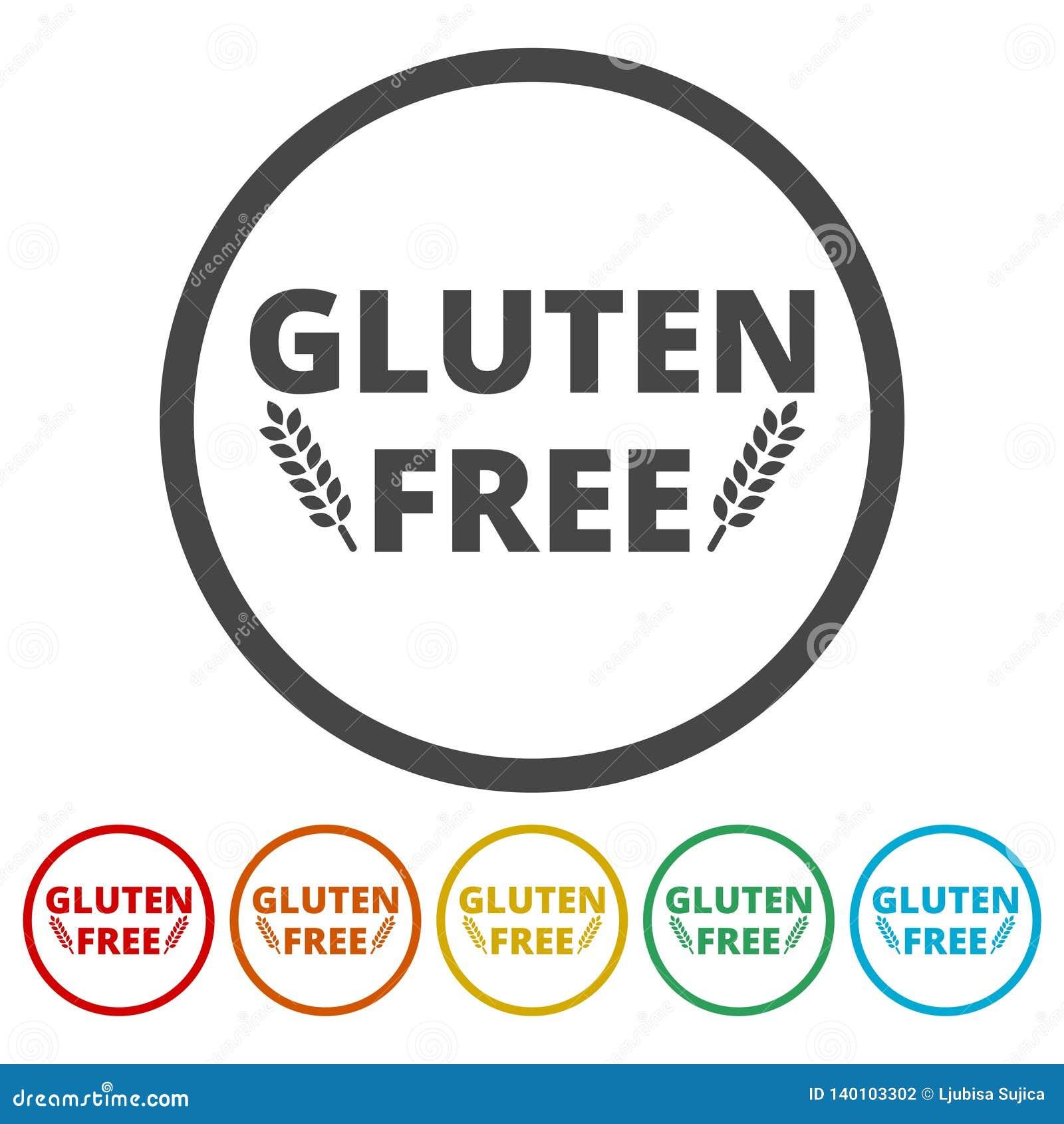 Gluten free icons set stock vector  Illustration of