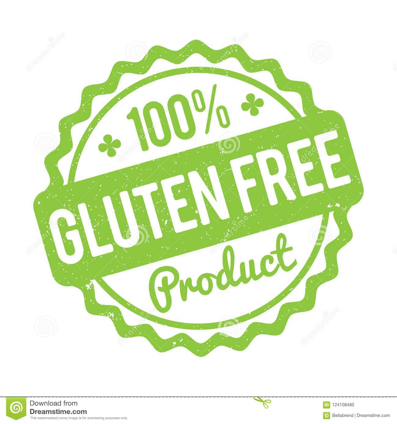 Gluten FREE Product rubber stamp green on a white background.