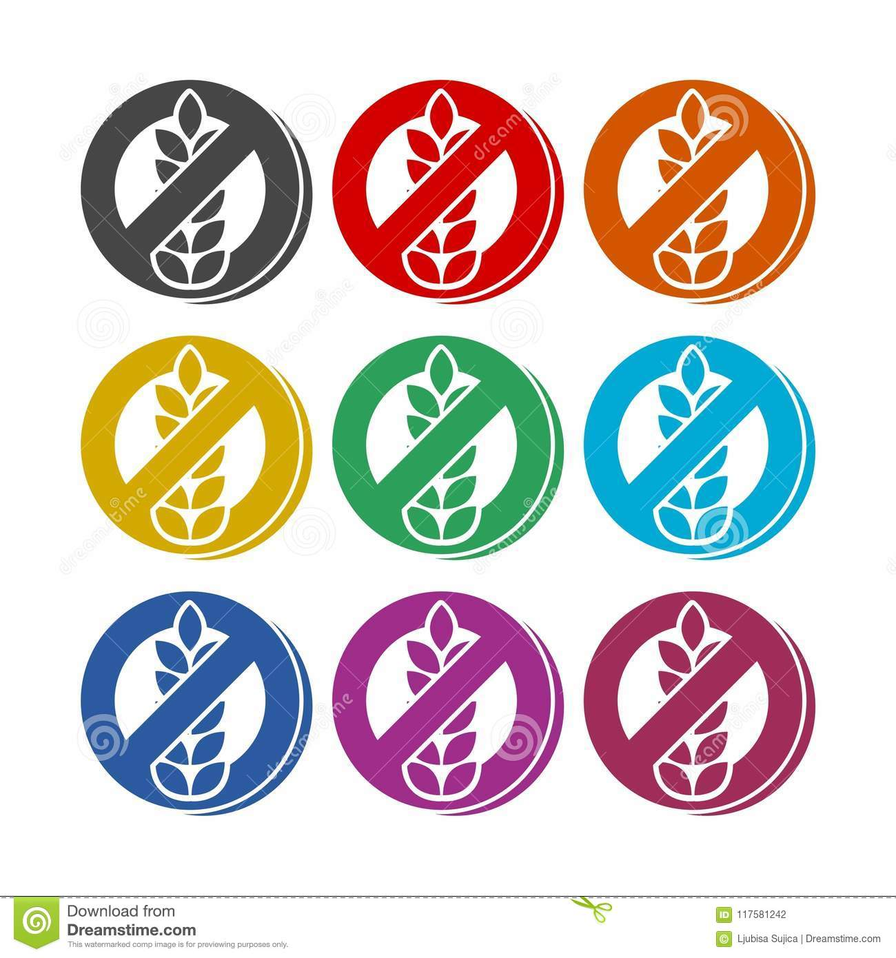 Gluten Free Sign Icon, Color Icons Set Stock Vector