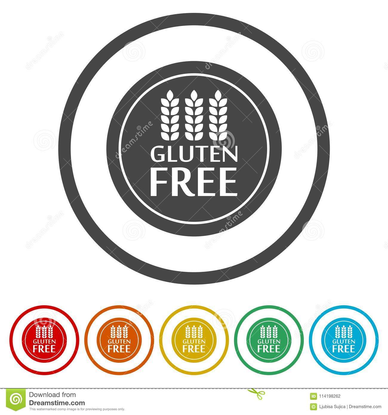 Gluten Free Sign Icon, 6 Colors Included Stock Vector