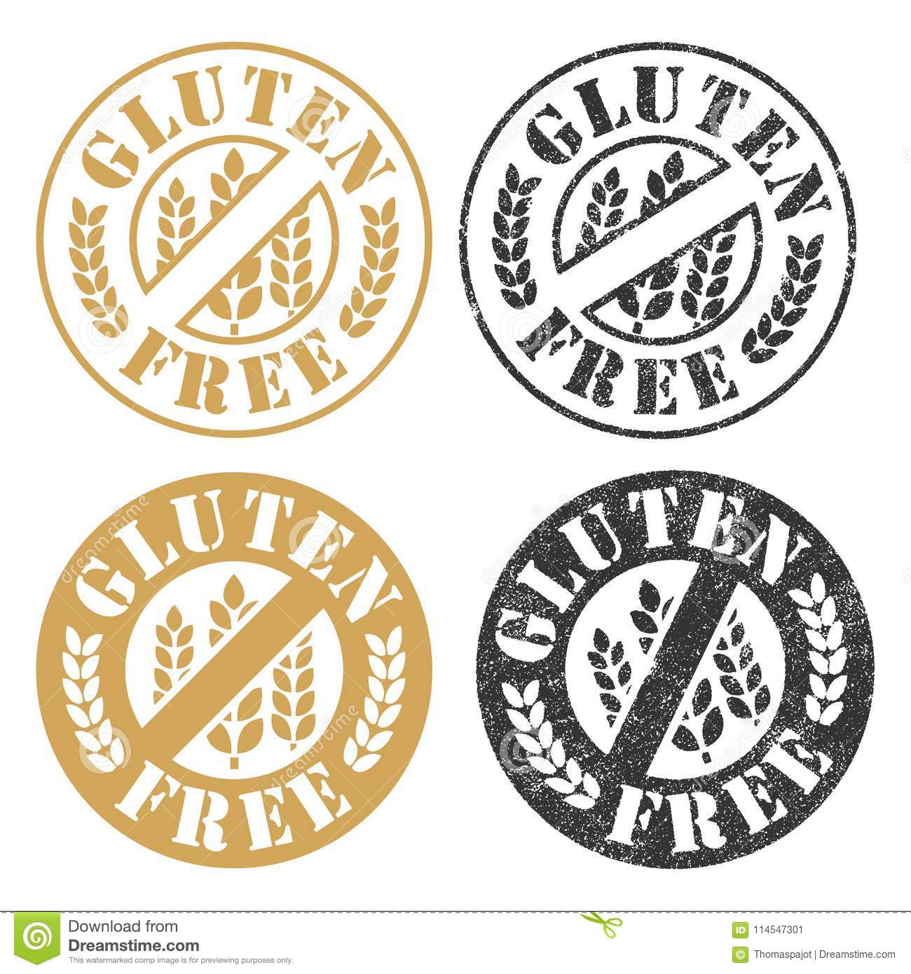 Gluten Free stamps stock vector  Illustration of intolerant - 114547301