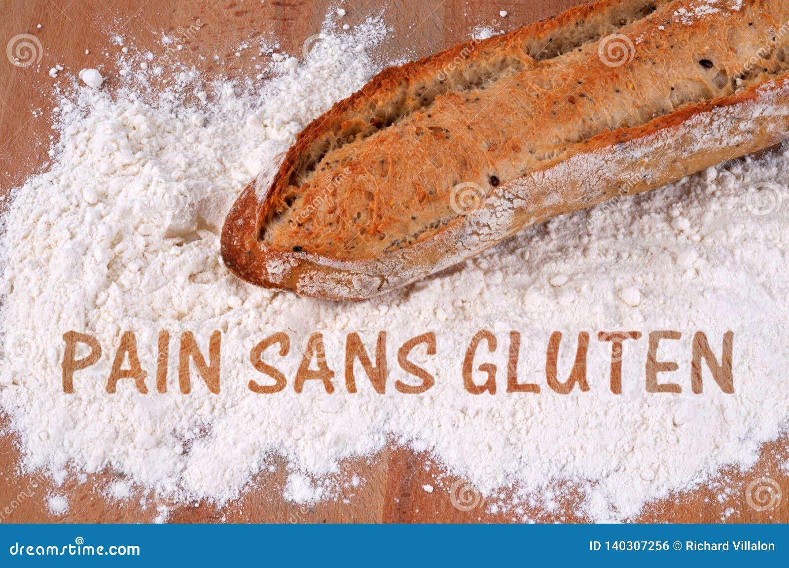 Glutenfreies Brotkonzept geschrieben auf französisch