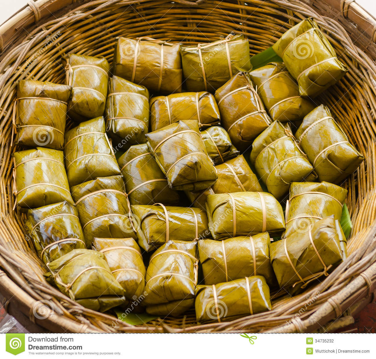 glutinous rice steamed in banana leaf stock photography. Black Bedroom Furniture Sets. Home Design Ideas