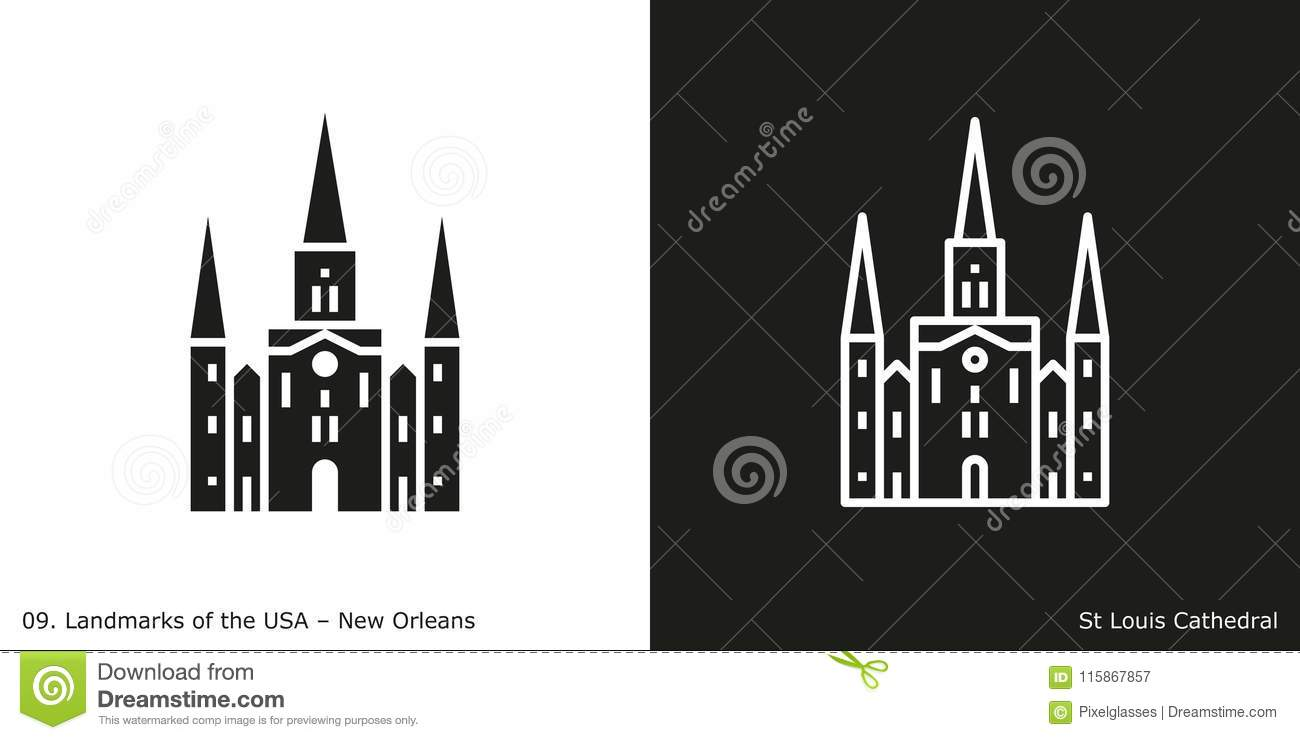 st louis cathedral in new orleans stock vector illustration of