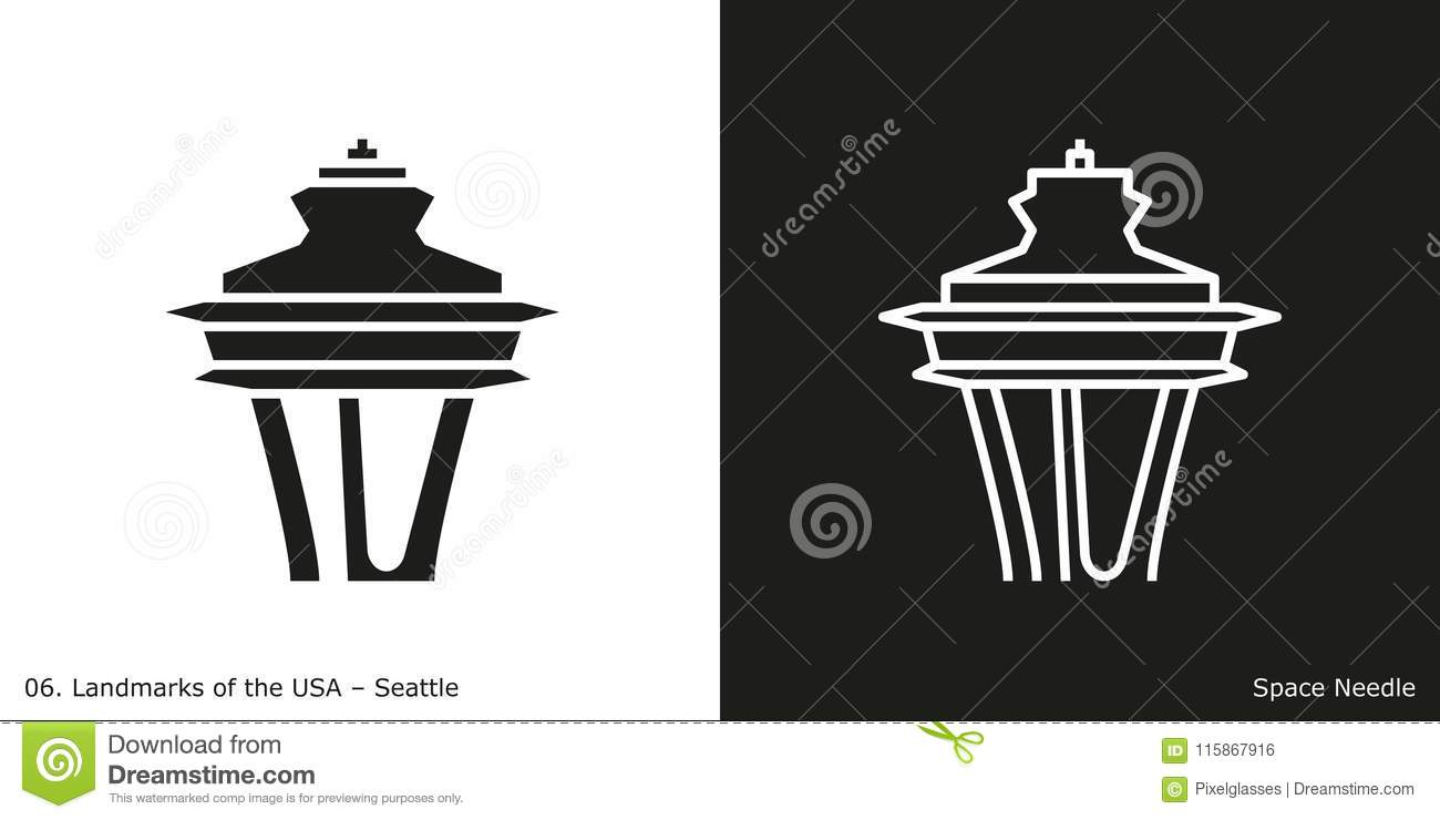 space needle in seattle editorial photo illustration of white