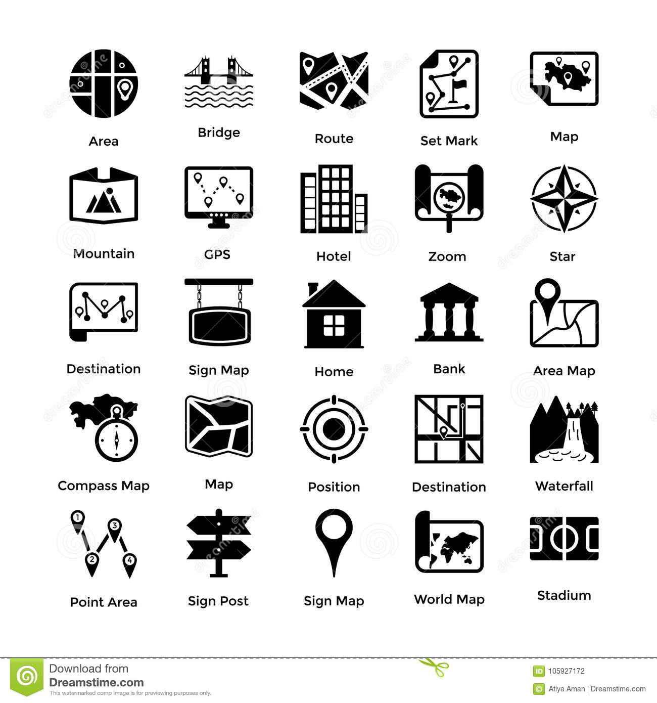 Glyph Style Maps And Navigations Icons Set Stock