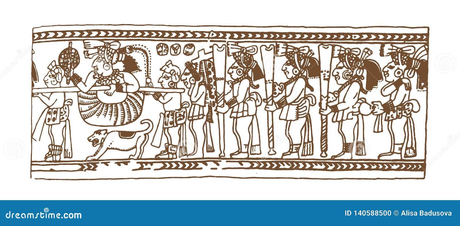 Calendario Inca Simbolos.Glyphs Graficos Del Maya Del Vintage Inca Y Ornamentos