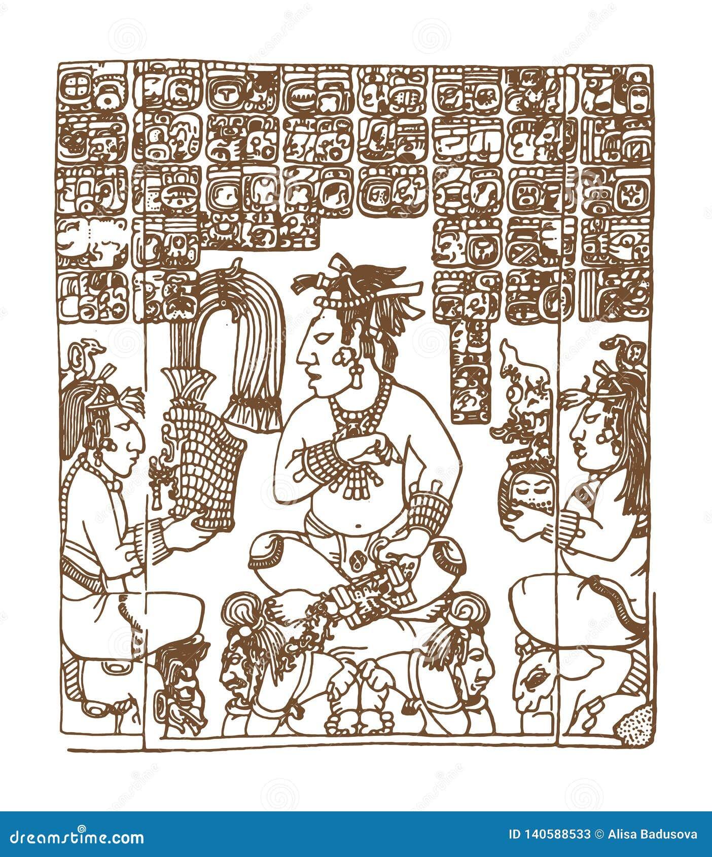 Glyphs gráficos do maya do vintage, inca e ornamento astecas e símbolos do zodíaco no estilo indiano americano velho Vetor