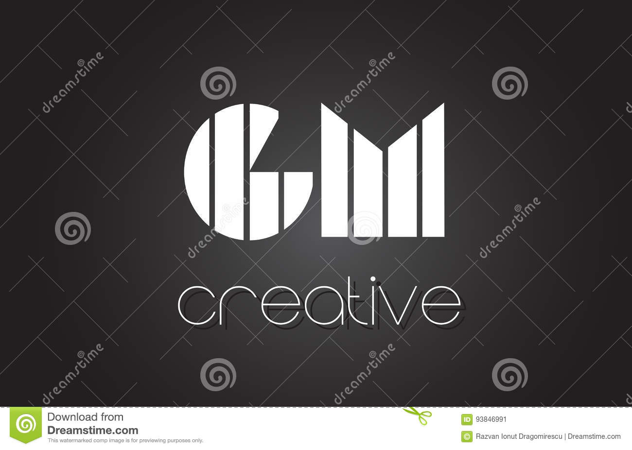 Gm G M Letter Logo Design With White And Black Lines Stock Vector