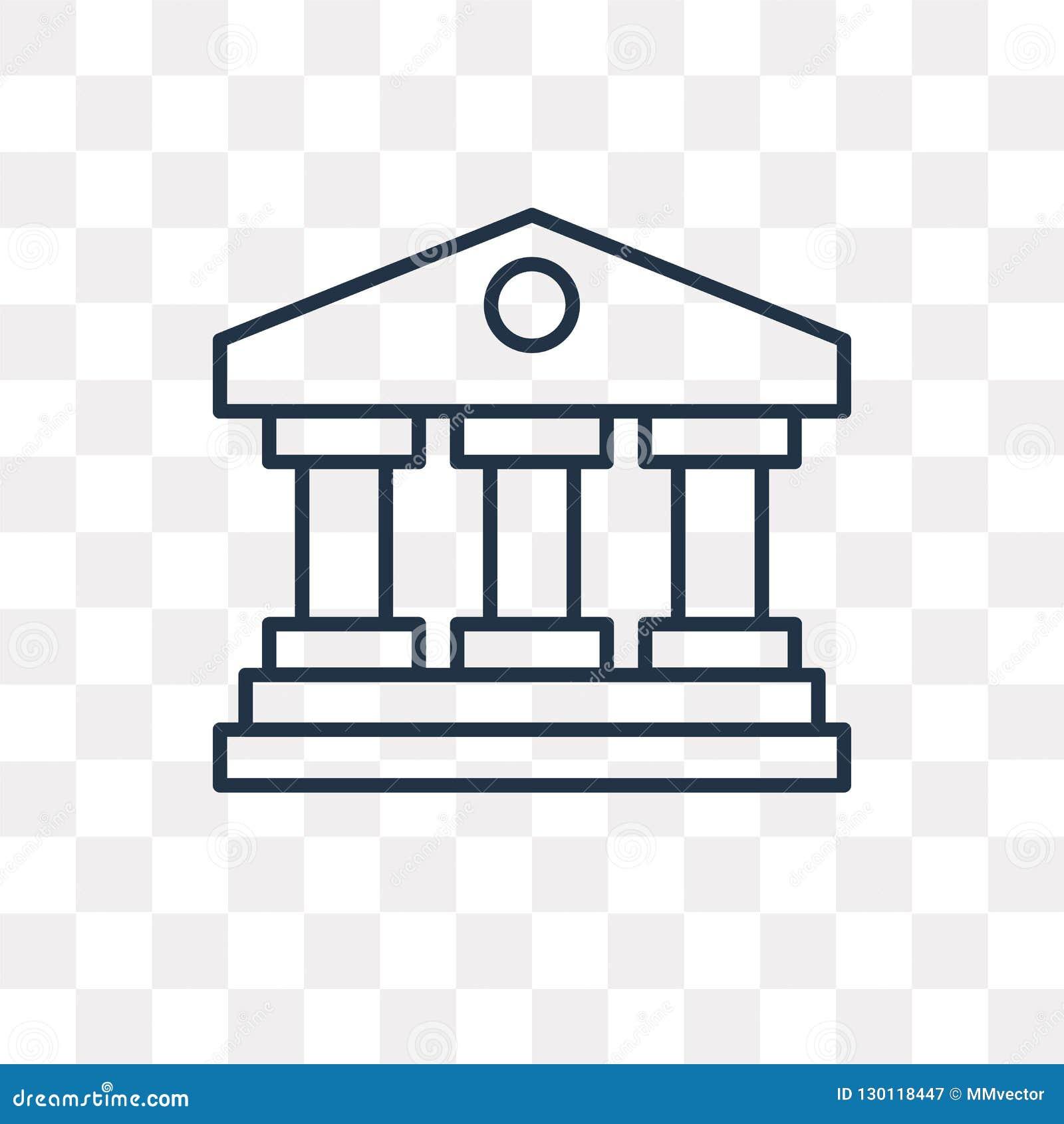 Gmach sądu wektorowa ikona odizolowywająca na przejrzystym tle, linea