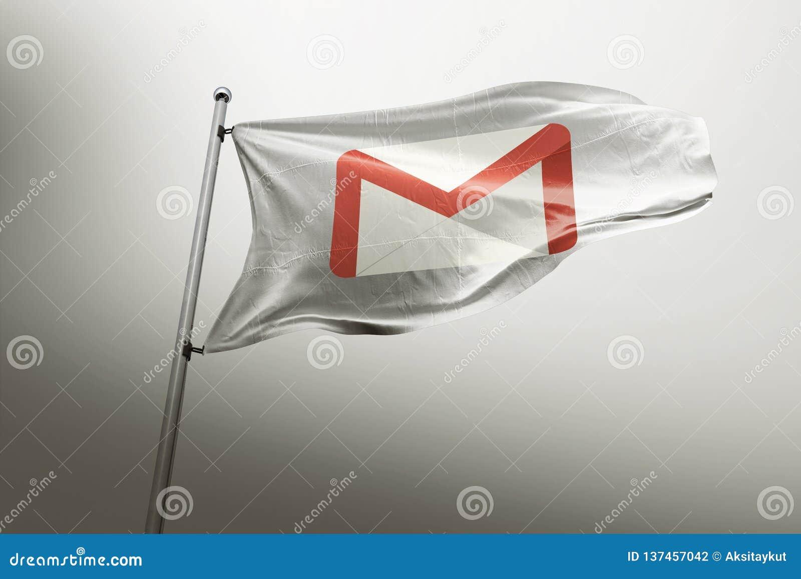 Gmail photorealistic chorągwiany artykuł wstępny
