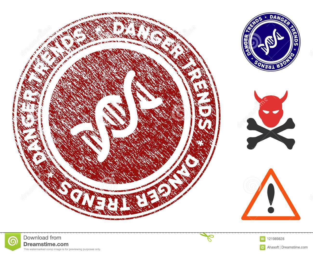 GMO Danger Trends Watermark With Scratched Surface Stock Vector