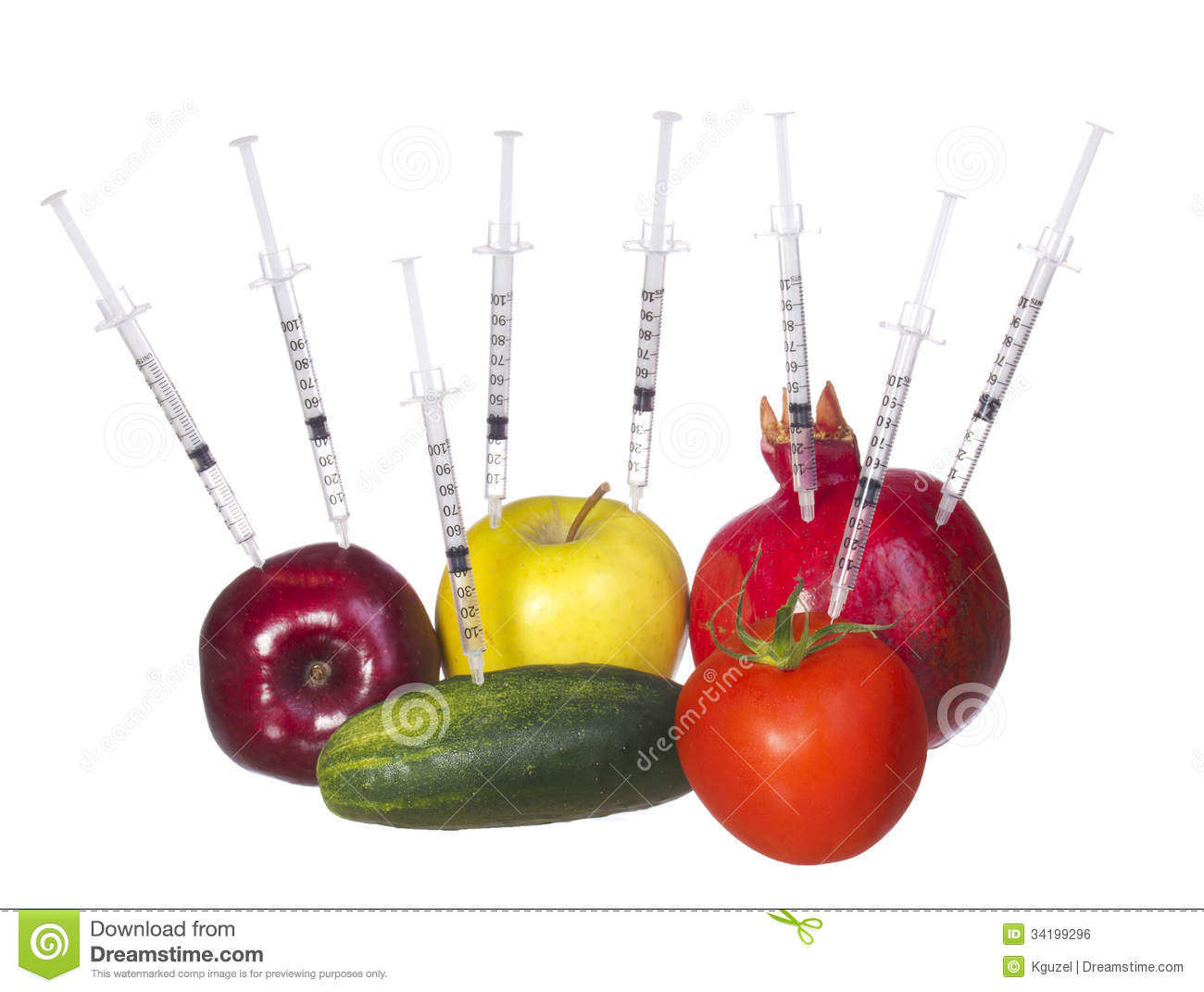 GMO Food Concept. Genetically Modified Fruit And Vegetables With ...