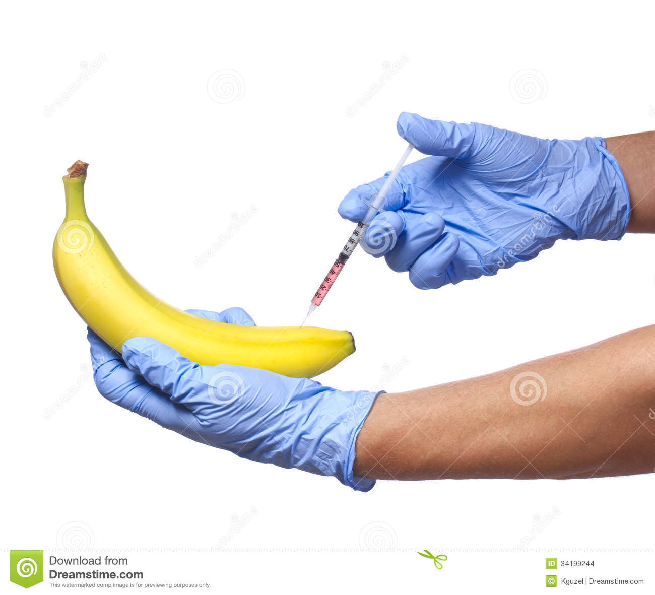 gmo food injection into banana isolated on white