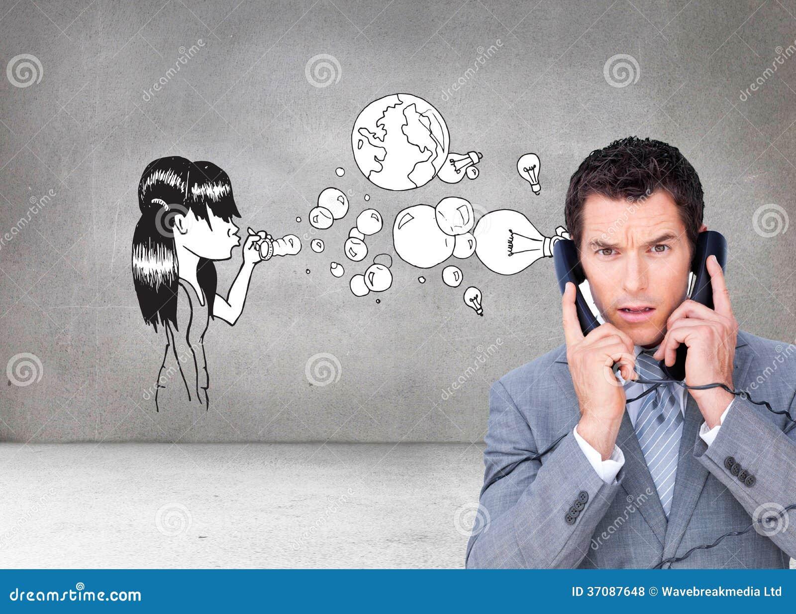 Download Gniewna Biznesmen Gmatwanina Up W Telefonów Drutach Zdjęcie Stock - Obraz złożonej z kostium, charcica: 37087648
