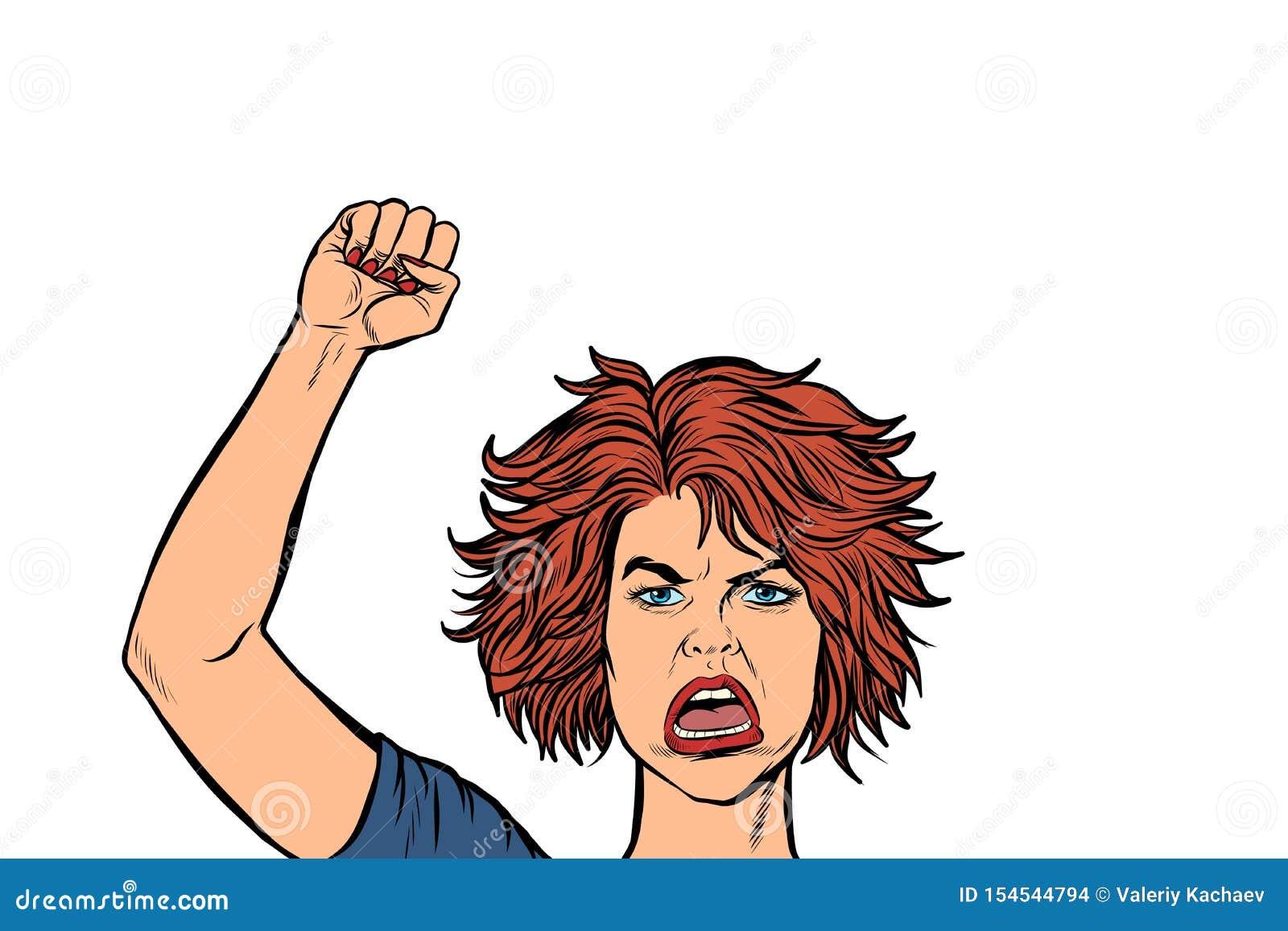 Gniewna protestujący kobieta, zlotna opór wolności demokracja