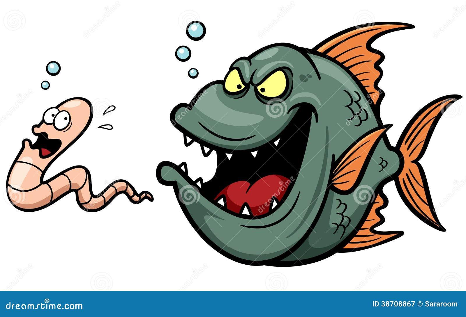 Gniewna rybia głodna kreskówka