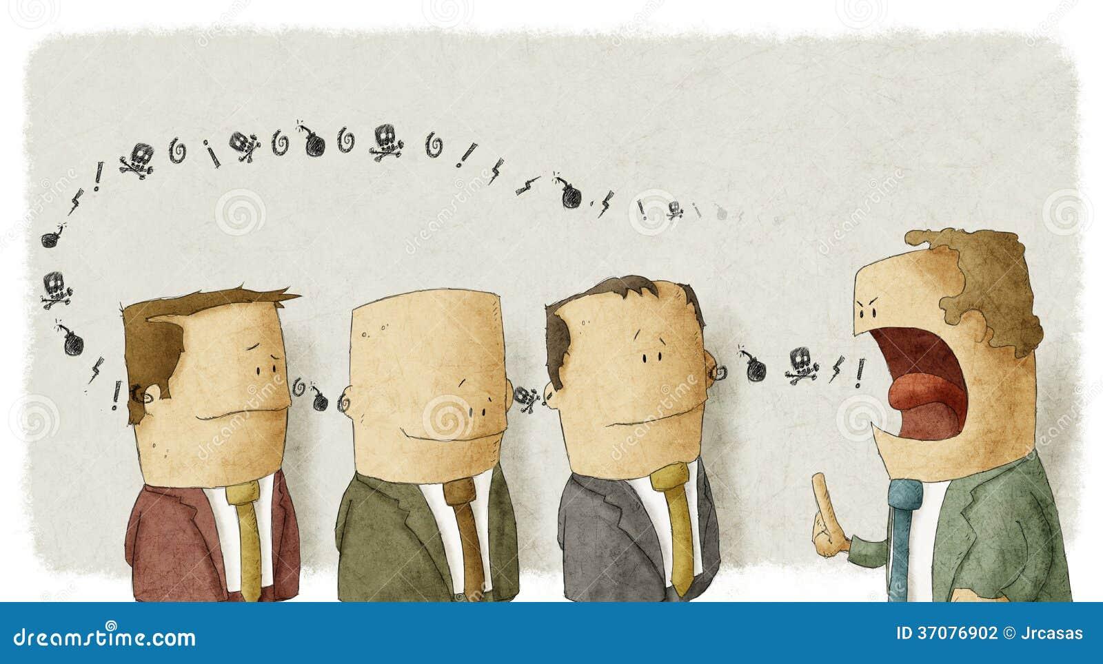 Download Gniewnego Szefa Southing Empolyees Ilustracji - Ilustracja złożonej z lider, stres: 37076902