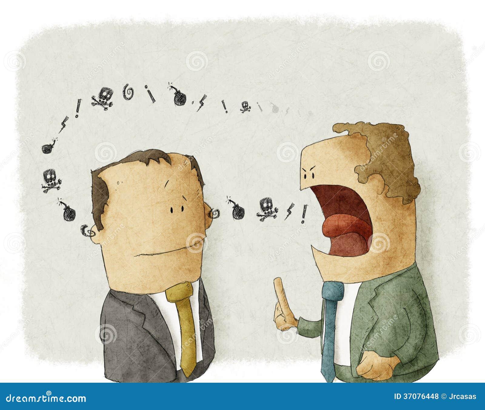 Download Gniewnego Szefa Southing Pracownik Ilustracji - Ilustracja złożonej z kreskówka, dialog: 37076448
