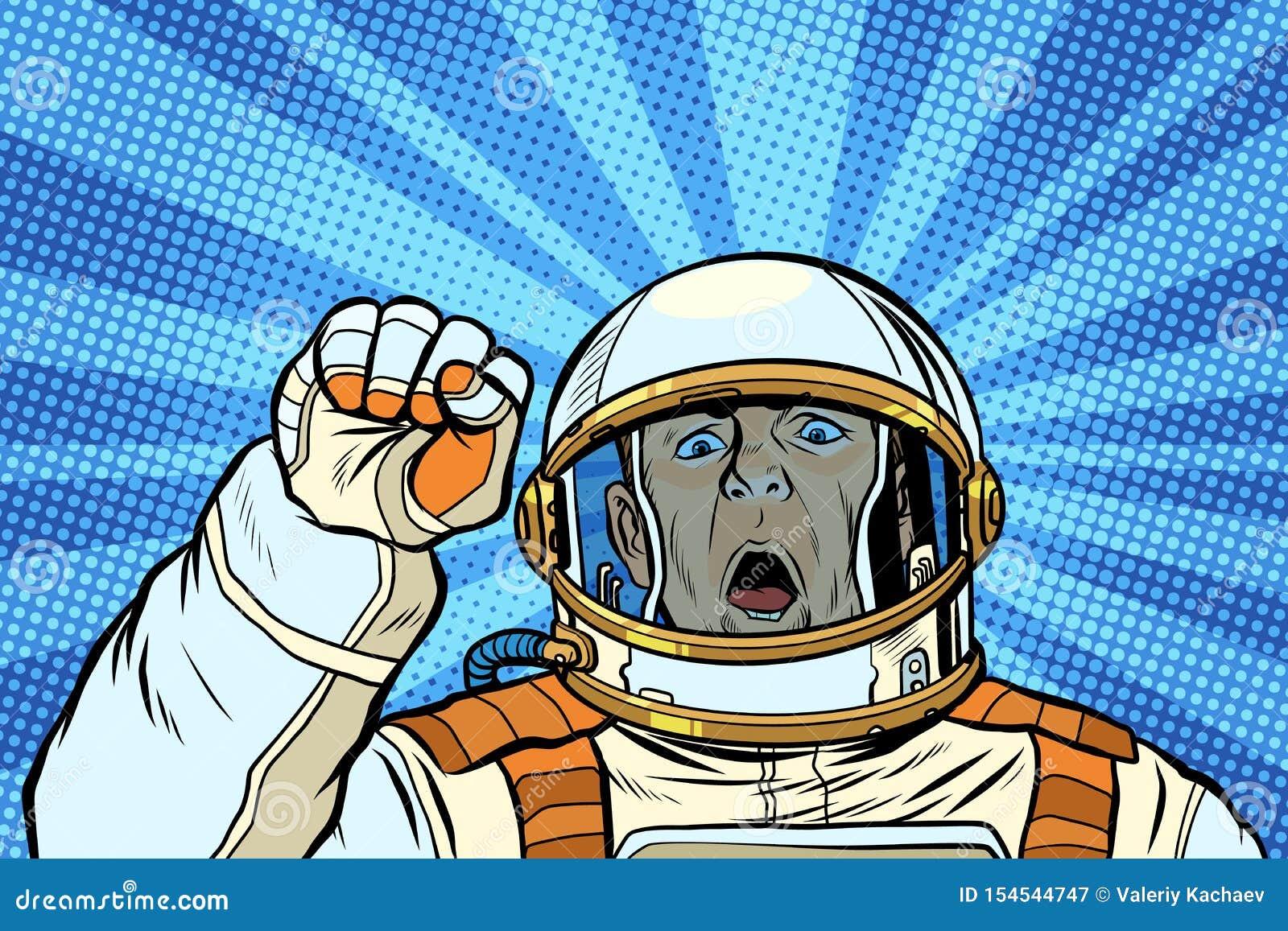 Gniewny astronauty kosmonauty protestujący, zlotna opór wolności demokracja
