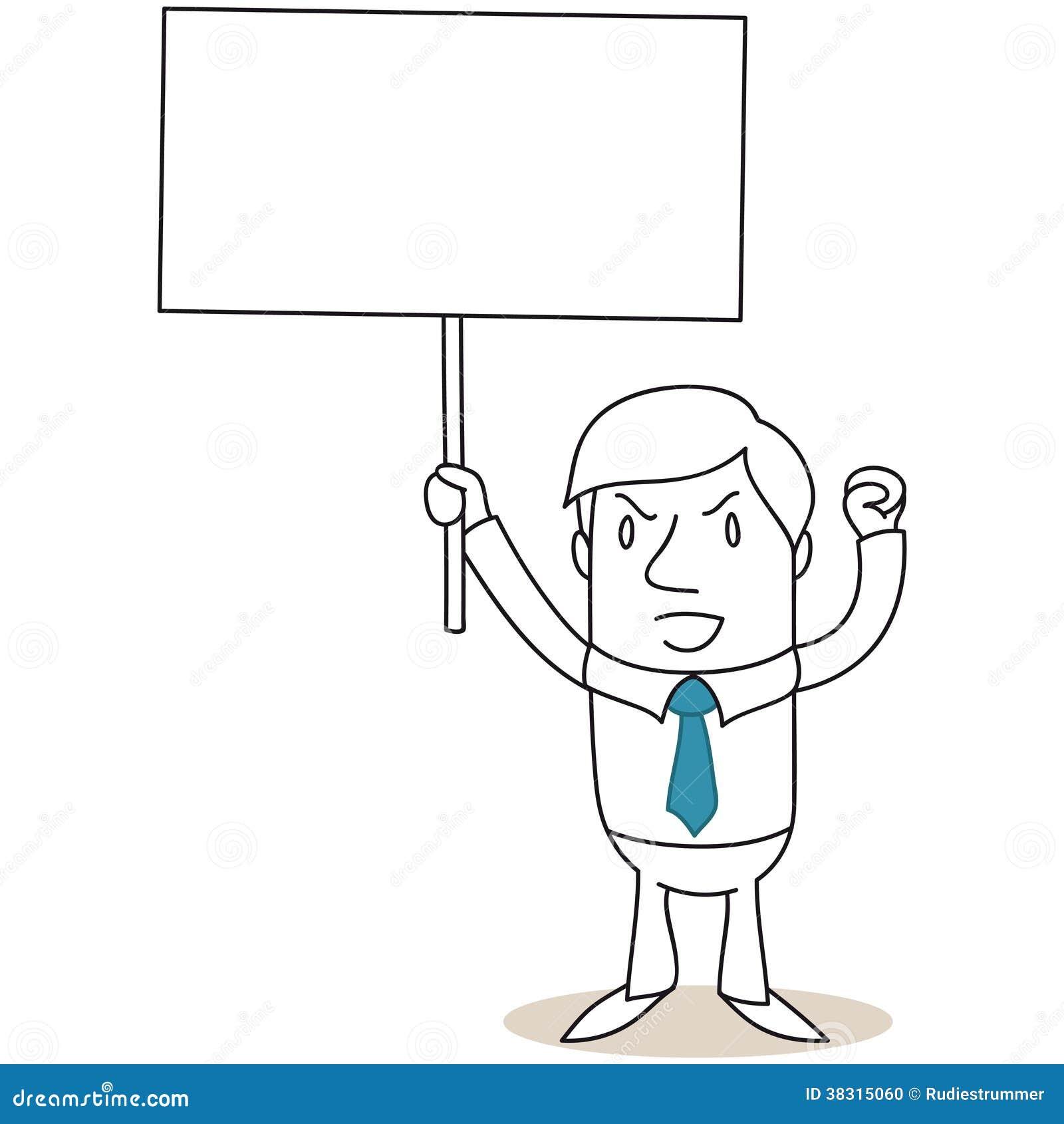 Gniewny biznesmen protestuje z puste miejsce znakiem