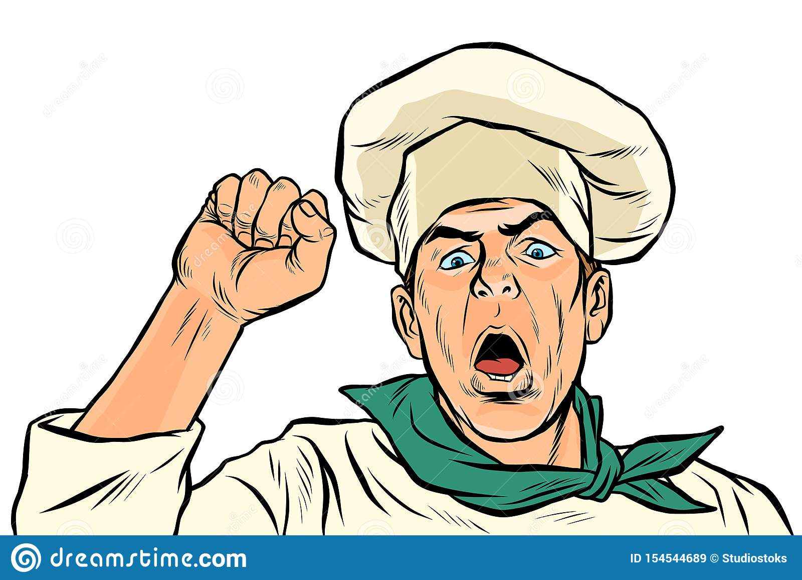Gniewny protestujący kucharz Zjednoczenie strajk, zlotna opór wolności demokracja