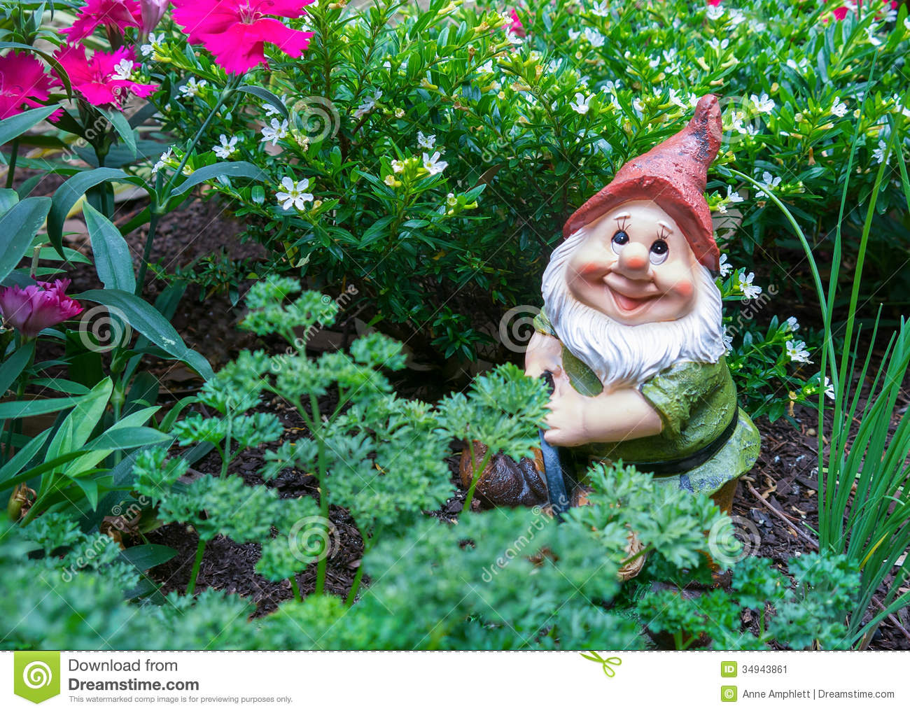 Gnome In Garden: Gnome In Garden Stock Image. Image Of Life, Novelty, Still