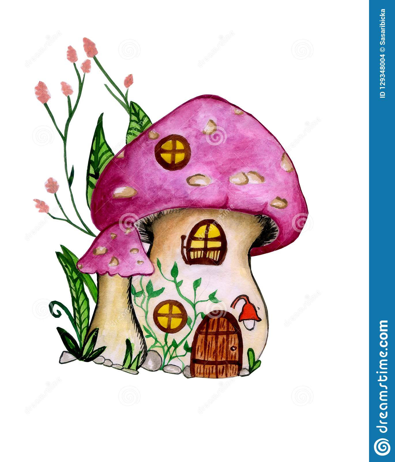 Gnome House Watercolor Illustration Hand-painted Cute Childish Cartoon Fantasy Fairytale