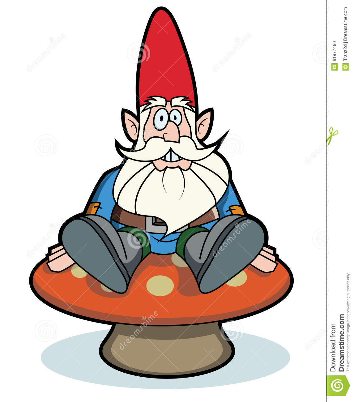 Gnome sitting on mushroom stock illustration. Illustration