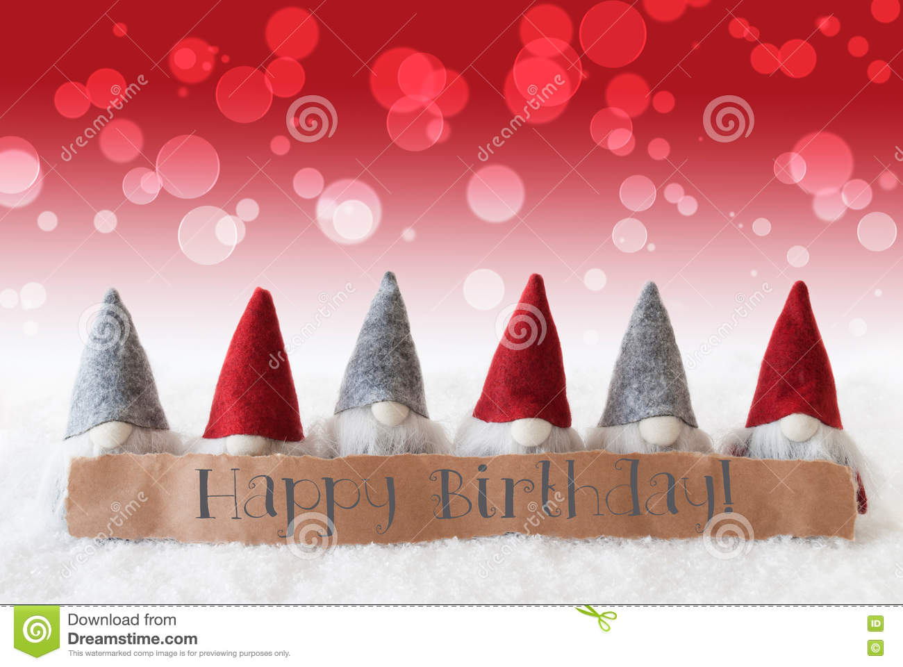 gnomes red background bokeh text happy birthday