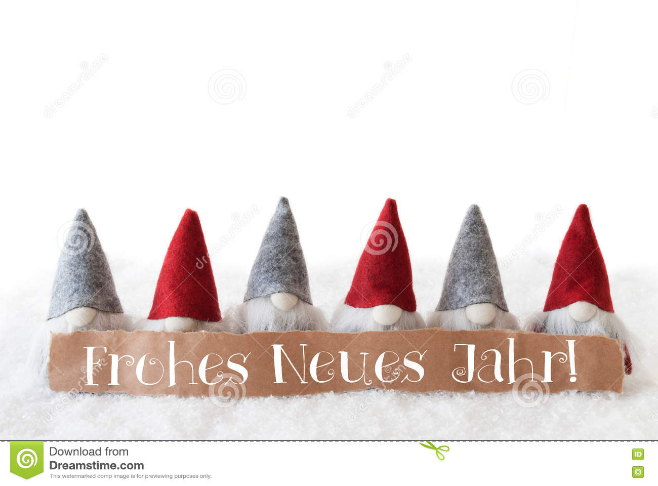 Gnomes, White Background, Frohes Neues Jahr Means Happy New Year ...