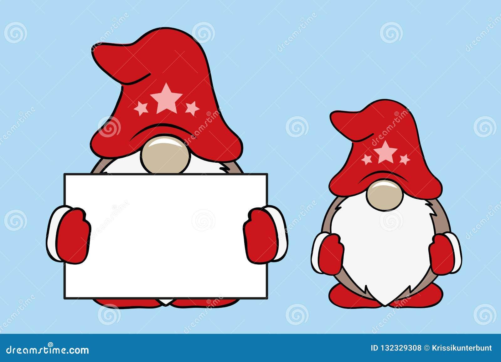 Gnomi svegli di Natale con i vestiti e la carta rossi