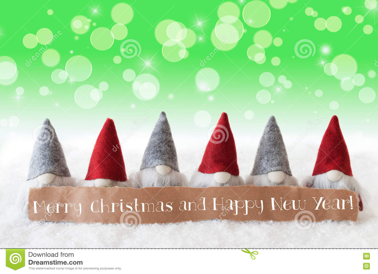 Gnomos, Bokeh verde, estrelas, Feliz Natal e ano novo feliz