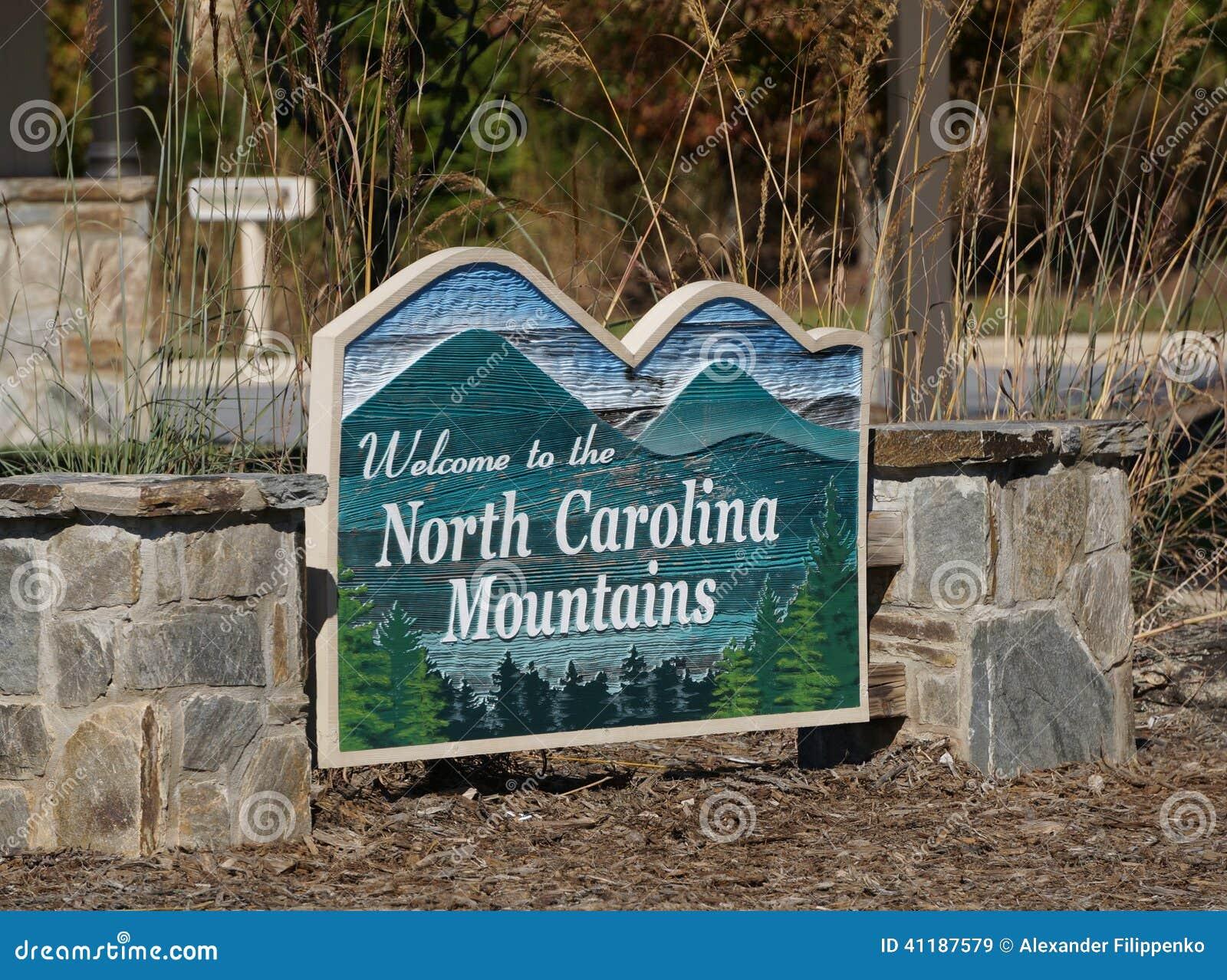 Gościa centrum znak powitalny w Pólnocna Karolina