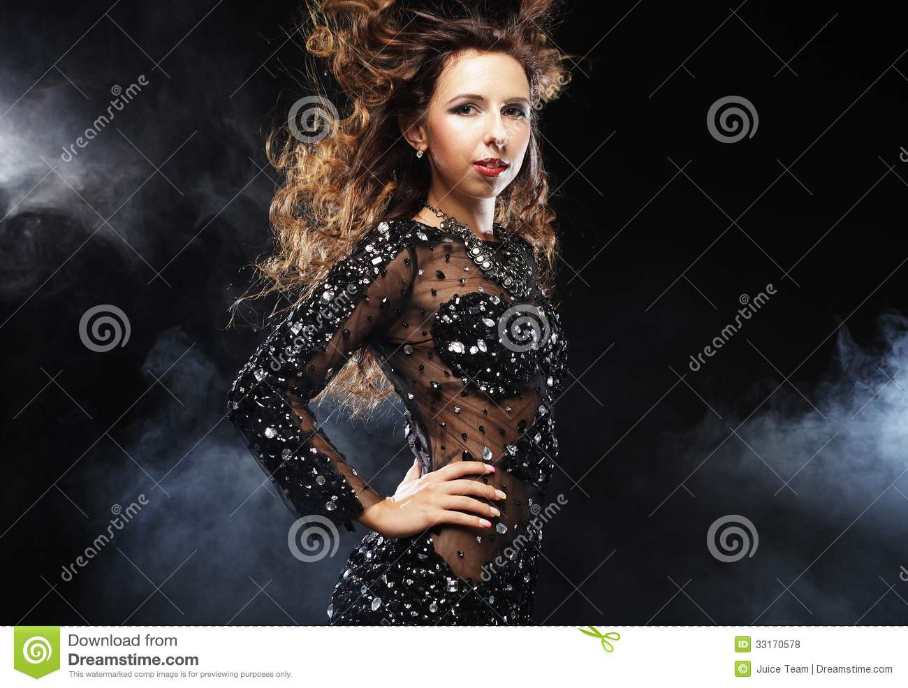 Download Go-go Dancer In Black Dress Stock Photo - Image of entertainment, dynamics: 33170578