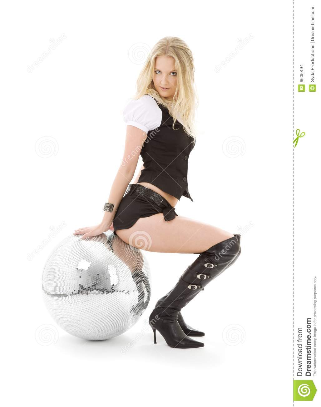 Go-go Dancer In High Boots With Disco Ball Stock Images ...