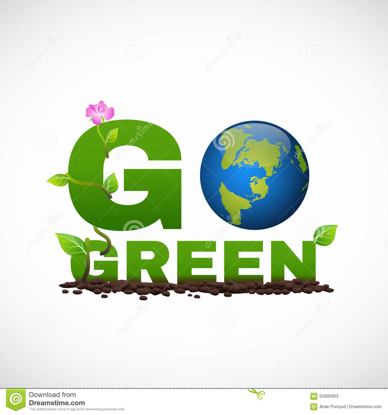 Go green banner logo design is have earth leaf and flower tree stock download comp reheart Image collections
