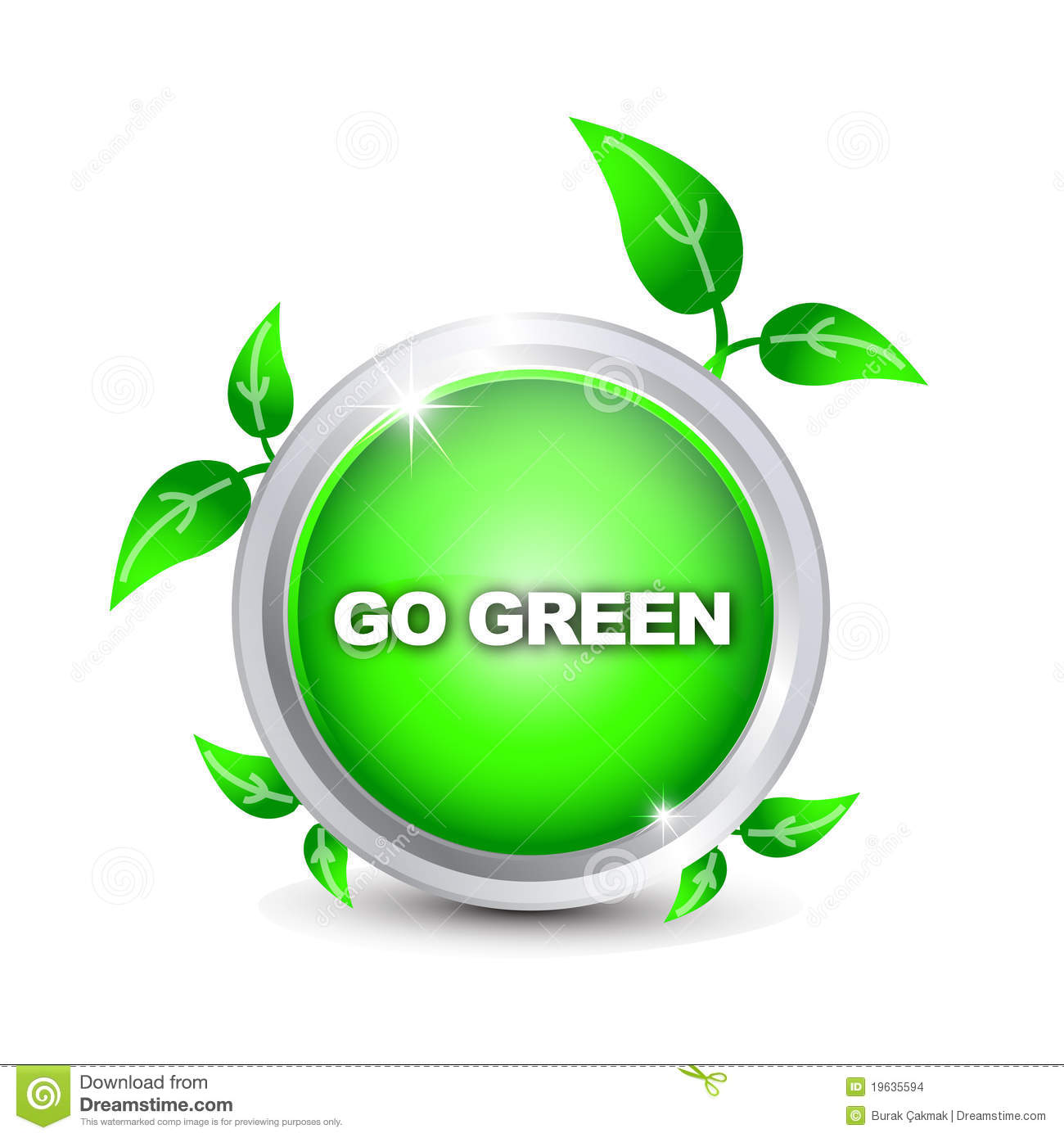 GO GREEN BUTTON Badge 1-1/4 w/Pinback Recycle NEW